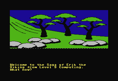 The Saga of Erik the Viking Commodore 64 The game begins at the end of a path, with you, Eric the Viking, sitting on a hill.