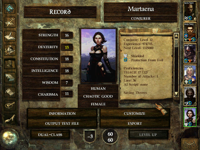 Icewind Dale Windows Character attributes of an attractive female mage