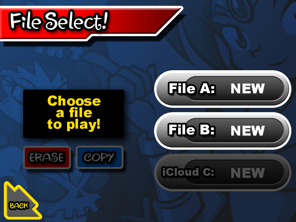 Shantae: Risky's Revenge iPad Main menu/file select.