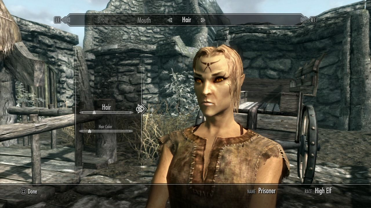 The Elder Scrolls V: Skyrim PlayStation 3 Character generation setup lets you change gender, race, facial look, add tattoos and more
