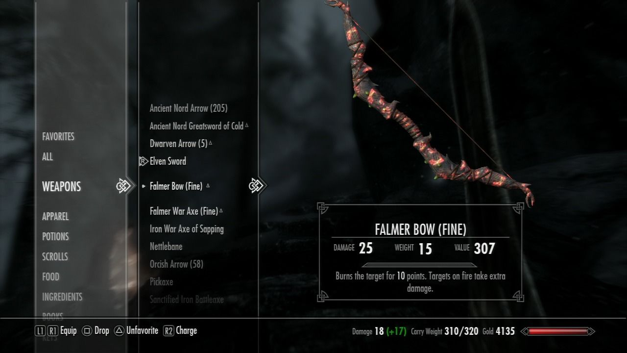The Elder Scrolls V: Skyrim PlayStation 3 Weapons inventory