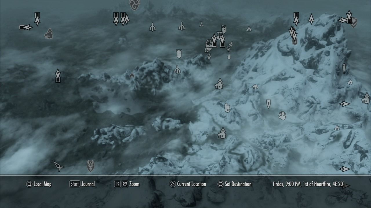 The Elder Scrolls V: Skyrim PlayStation 3 World map