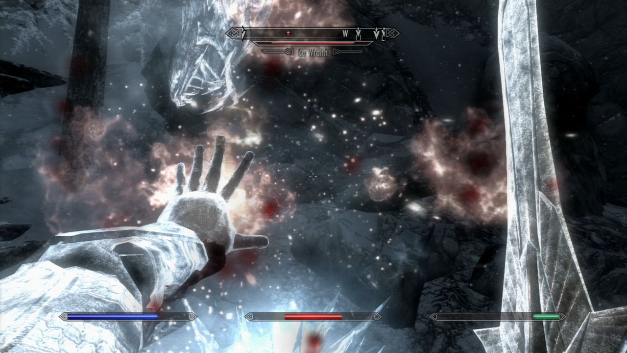 The Elder Scrolls V: Skyrim PlayStation 3 Using fire magic to fight the Ice Wraith