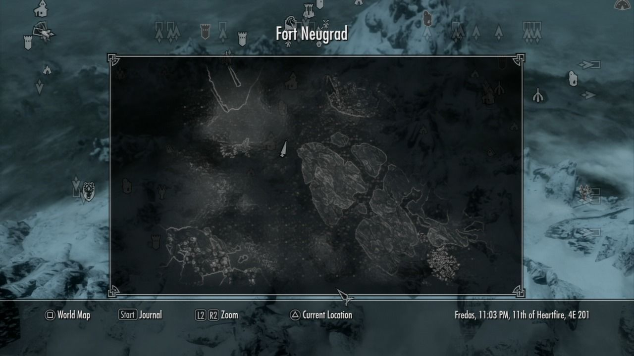 The Elder Scrolls V: Skyrim PlayStation 3 World map can be zoomed to display more localized area you have traversed across