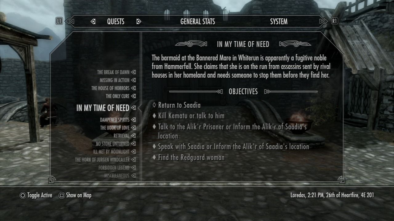 The Elder Scrolls V: Skyrim PlayStation 3 List of main and side-quests