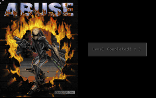 Abuse DOS Game box art is shown upon level completion (v2.00).