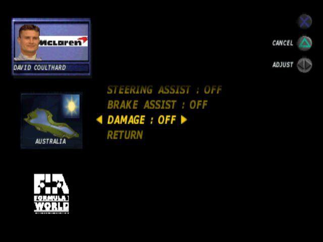 Formula 1 98 PlayStation The player has access to many configuration options prior to a race but, as with all menus in this game, most are hidden from view