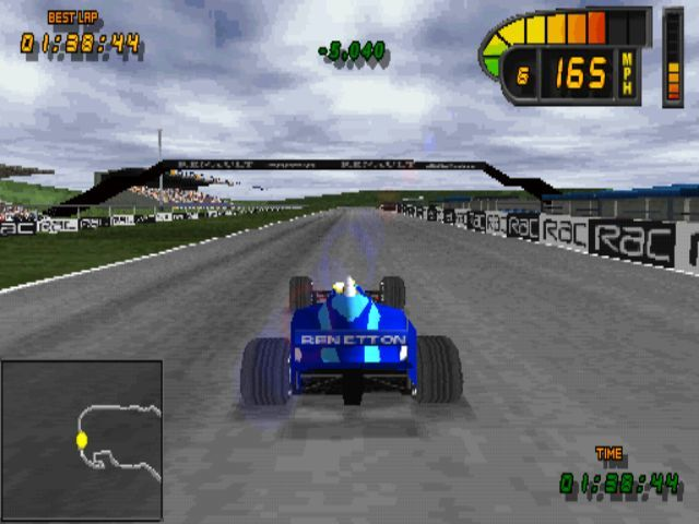 Formula 1 98 PlayStation Performing a time trial at Silverstone<br>The green figures in the top/ centre of the screen show that the player has shaved 5 seconds of their previous best time