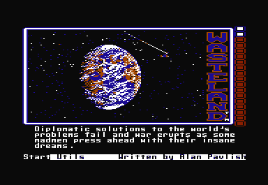 Wasteland Commodore 64 The title screen has some animation, showing how the Earth is incinerated, leaving behind mutated life in the Wasteland.