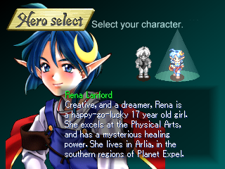 Star Ocean: The Second Story PlayStation You get to pick which character you play as.