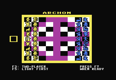 Archon: The Light and the Dark Commodore 64 The board, completely set up and ready for play.