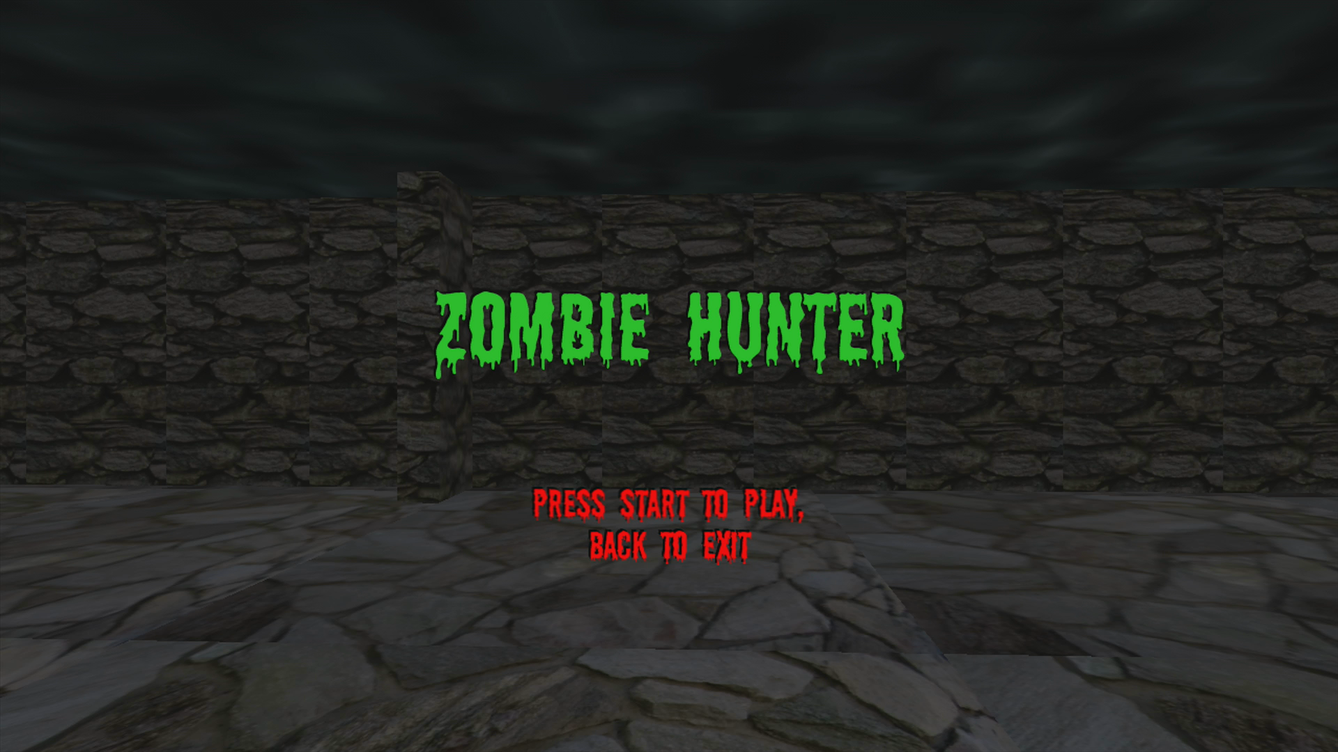 Zombie Hunter Xbox 360 Title screen (Trial version)