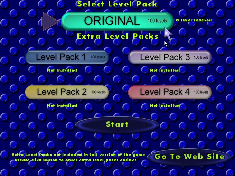 Alpha Ball Windows Level Pack Selection - only useful if additional level packs are installed