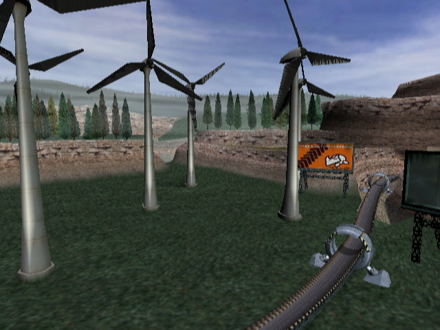XGIII: Extreme G Racing GameCube You can't have a racing game without windmills.
