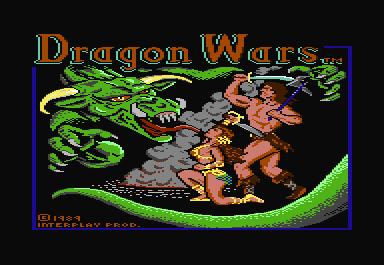 Dragon Wars Commodore 64 Title screen is copied from the box cover, which features artwork by Boris Vallejo.