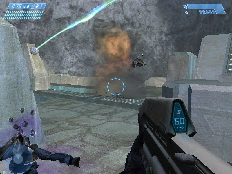 Halo: Combat Evolved Windows A well placed grenade sends this Covenant soldier flying.