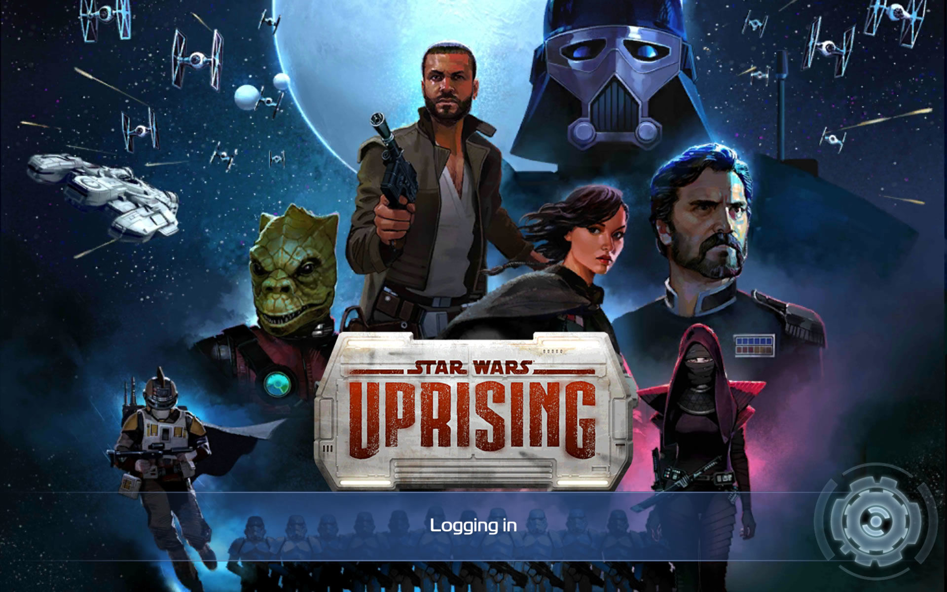 Star Wars: Uprising Android The title screen shown while logging in.