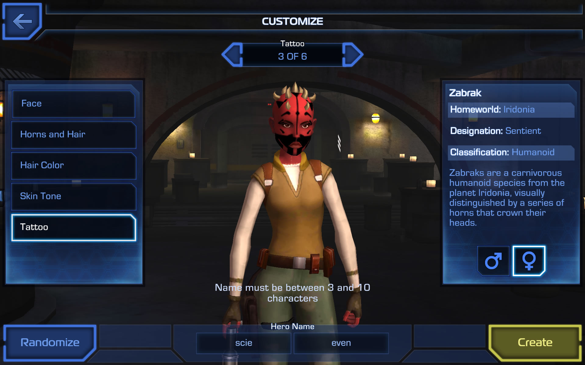 Star Wars: Uprising Android Further customize the character's appearance and provide a name.