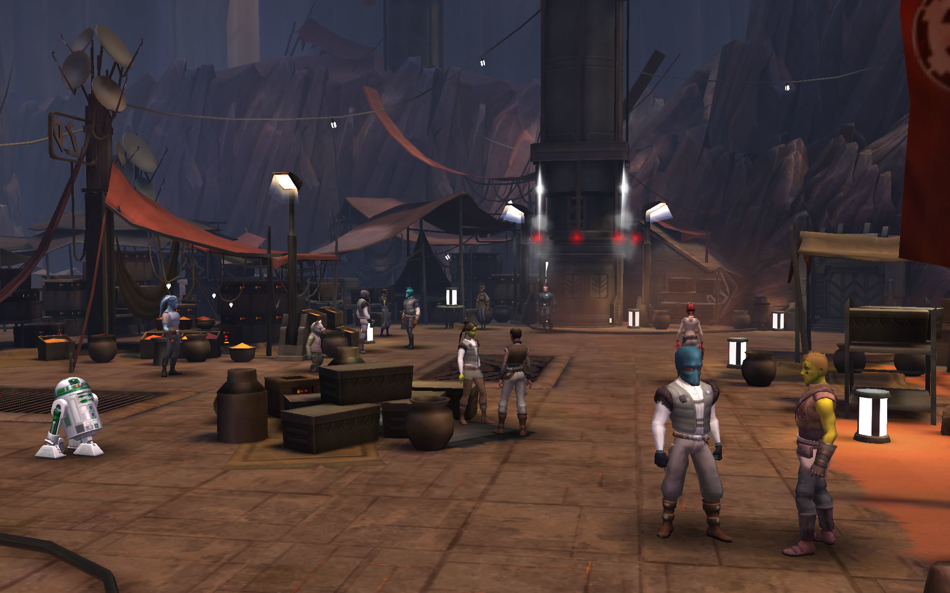 Star Wars: Uprising Android A busy market in the introduction sequence