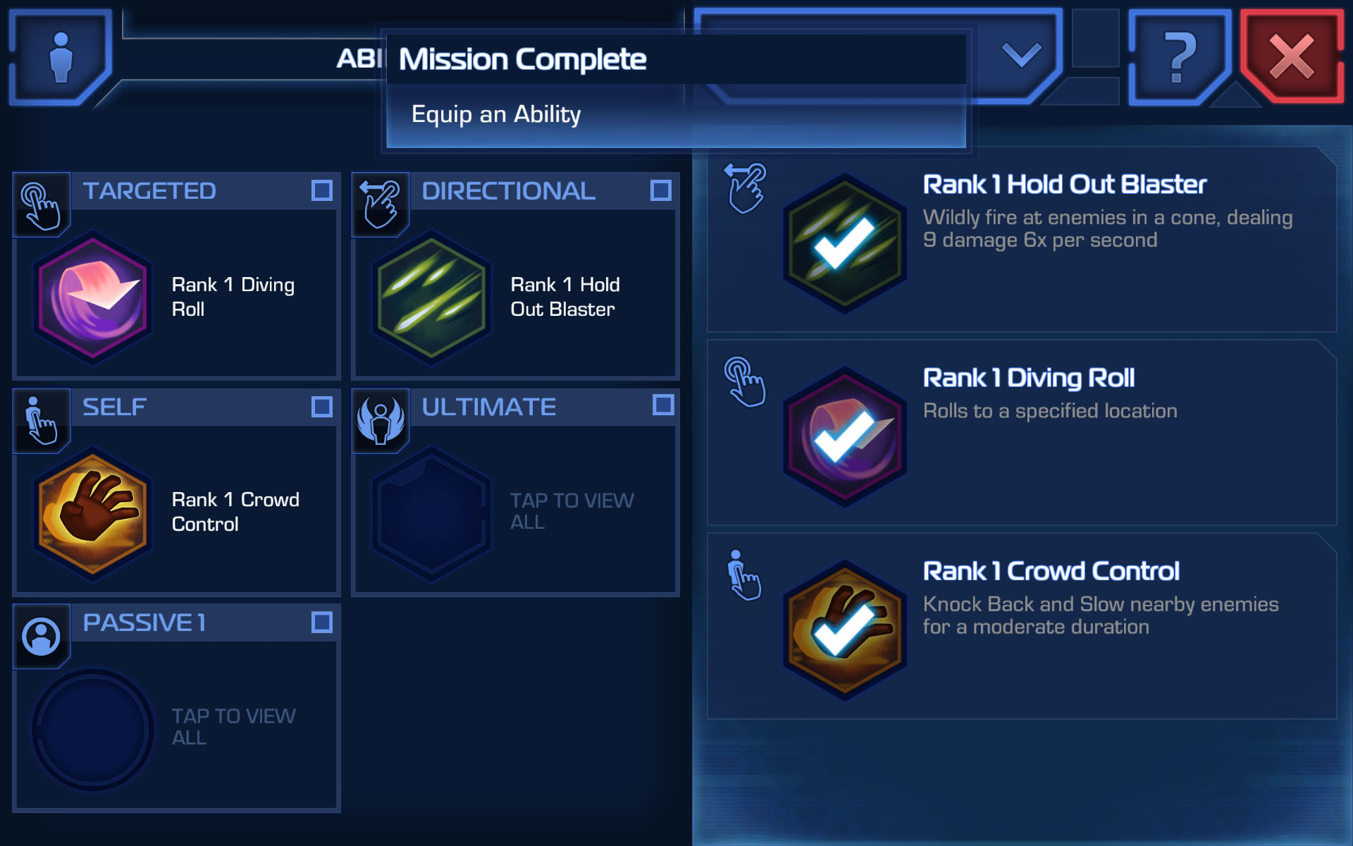 Star Wars: Uprising Android Ability equipment screen
