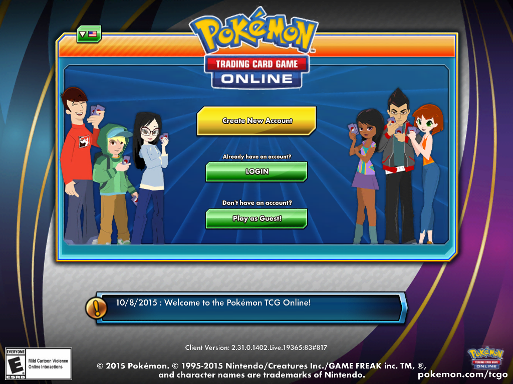 Pokémon Trading Card Game Online iPad Sign-in screen.