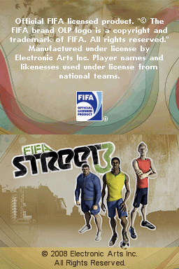 FIFA Street 3 Nintendo DS Title screen.
