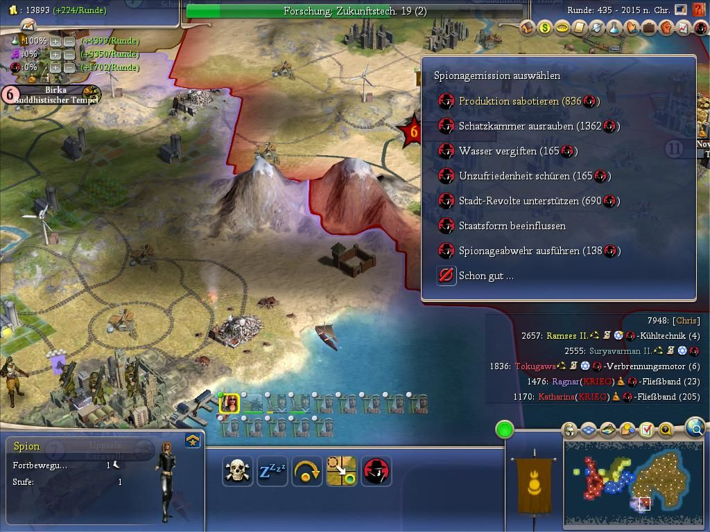 Sid Meier's Civilization IV: Beyond the Sword Windows Current mission for the selected spy