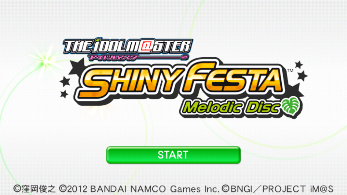 The iDOLM@STER: Shiny Festa - Melodic Disc iPhone Title screen.