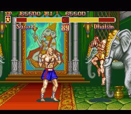 Super Street Fighter II SNES Sagat vs Dhalsim