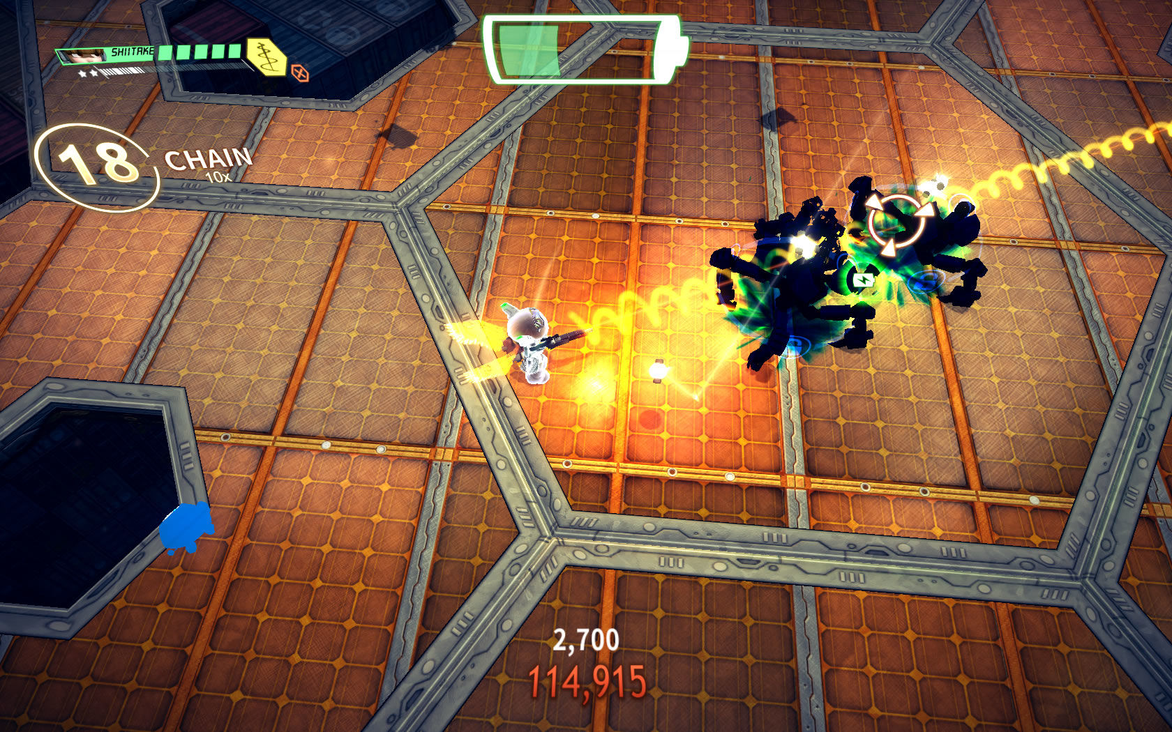 Assault Android Cactus Windows Shiitake fights with a rail gun. These enemies have dropped a battery charge.
