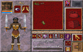 Anvil of Dawn DOS The character management screen