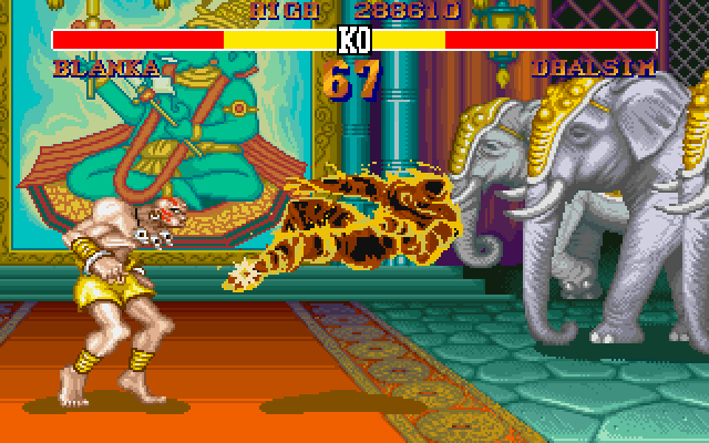 Street Fighter II DOS Yoga fire!