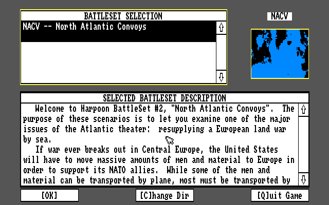 Harpoon BattleSet 2: North Atlantic Convoys Amiga Battleset 2 scenario selection