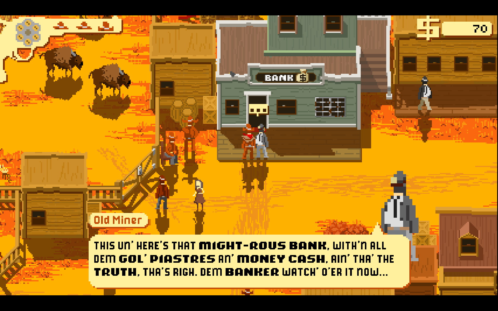 Westerado: Double Barreled Windows Outside the bank, talking to a character that guides you around Clintville.