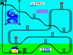 Kong Strikes Back! ZX Spectrum Level 4: Starting point.<br>