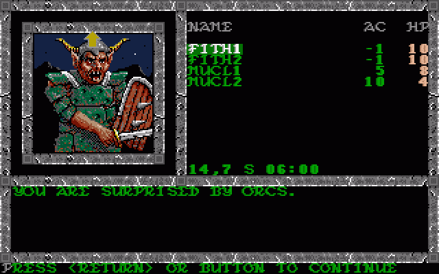 Pool of Radiance Amiga Encounter with some Orcs