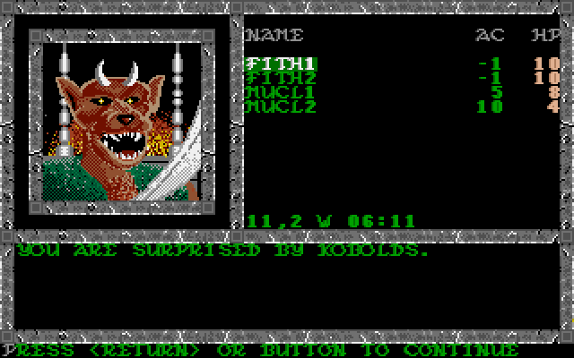Pool of Radiance Amiga Surprised by Kobolds