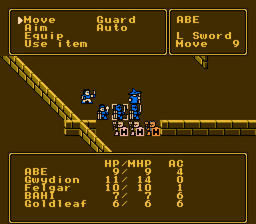 Pool of Radiance NES In a fight with 3 helpless enemies (the enemy icons reflect this)
