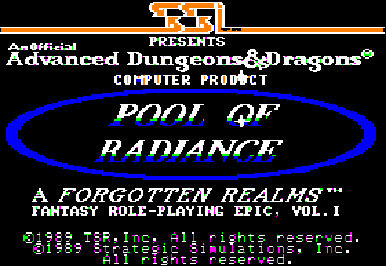 Pool of Radiance Apple II Game Title Screen