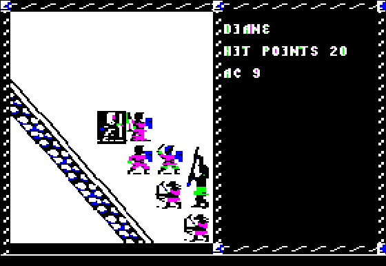 Pool of Radiance Apple II In the middle of <b>battle</b>
