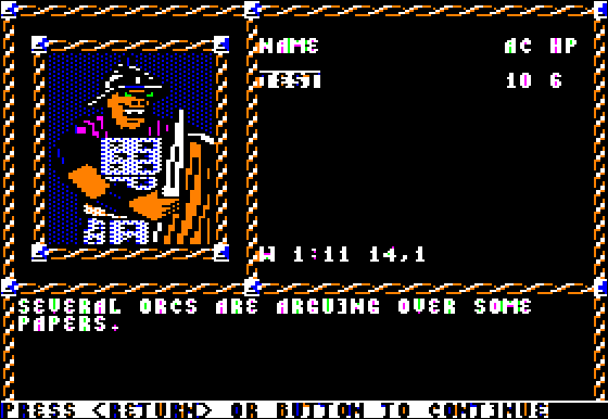 Pool of Radiance Apple II Example of a <b>set encounter</b> found in the game