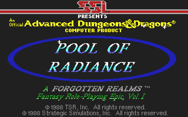 Pool of Radiance Commodore 64 Game <b>title</b> screen.