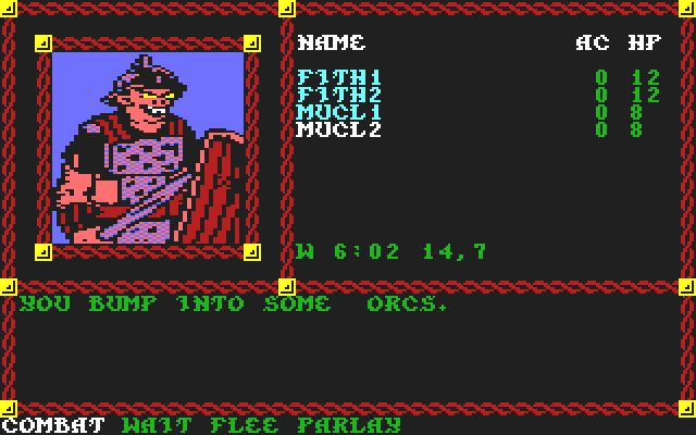 Pool of Radiance Commodore 64 Surprised by <b>orcs</b>.