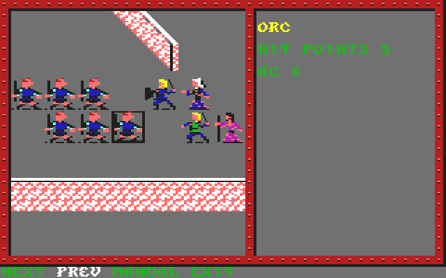 Pool of Radiance Commodore 64 A random <b>battle</b> in progress