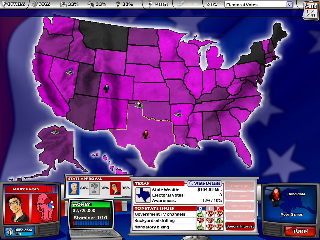 The Political Machine Windows This is the window you deal with as you play.  You can change from multiple maps... this one shows the electoral votes through shading of the states (this is, of course, fantasy electoral stats)