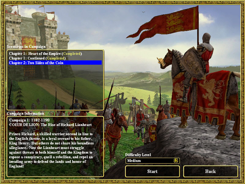 Empires: Dawn of the Modern World Windows The screen for Richard The Lionheart campaigns