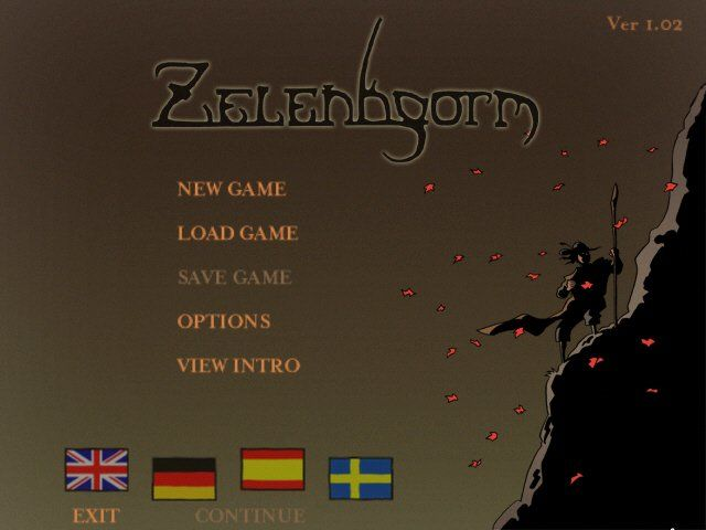 Zelenhgorm: Episode I: Land of the Blue Moon Windows Main Menu - first screen that loads