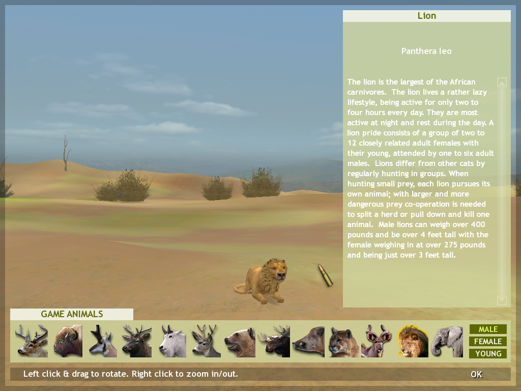 Hunting Unlimited 3 Windows The game offers information about all the animals you can hunt
