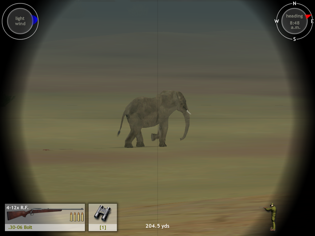 Hunting Unlimited 3 Windows Elephants aren't easy to take down... especially with this .30-06.  I hit that thing about 5 times in the head and another 10 times elsewhere before it went down