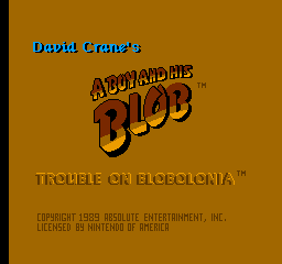 David Crane's A Boy and His Blob: Trouble on Blobolonia NES Title